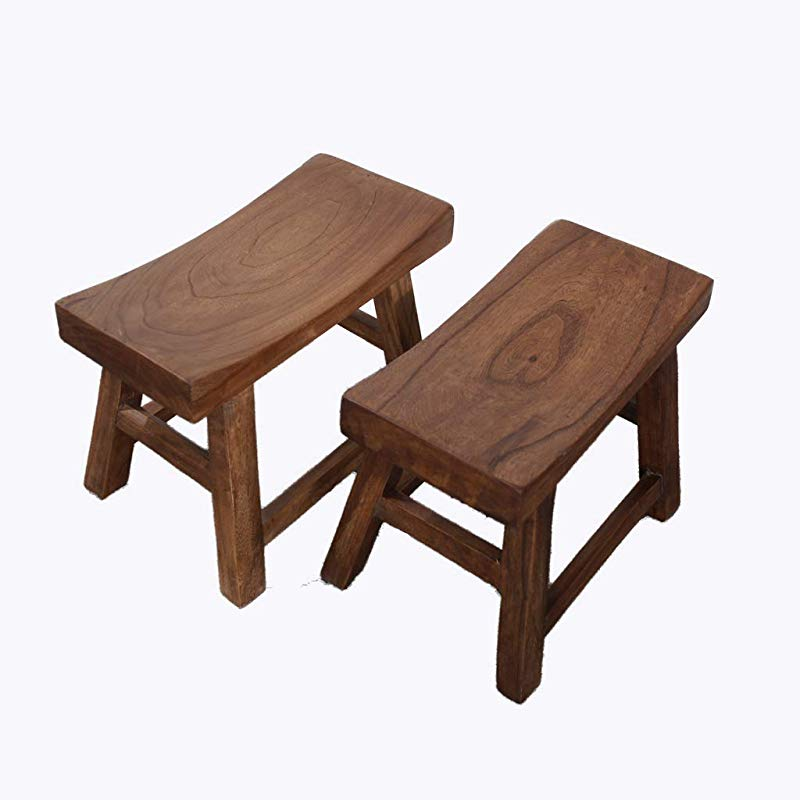 Wooden Stool Retro Non Slip Mute Four Legged Stool For Coffee Table Sofa Brown