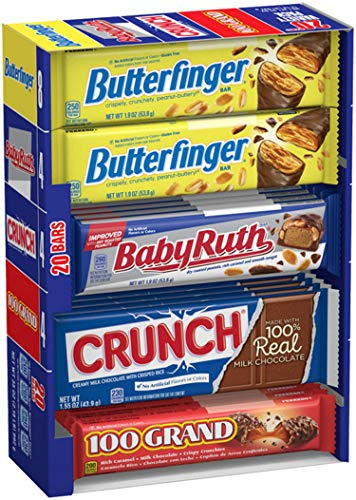 Nestle Chocolate Assorted Christmas Candy, Bulk Full Size Variety Pack with Butterfinger, Crunch, Baby Ruth & 100 Grand Bars (20 Count), Perfect Stocking Stuffers