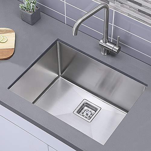 Comllen Modern Commercial 24 Inch 304 Stainless Steel Kitchen Sink,Single Bowl Kitchen Sink 12 Inch Deep Handmade Undermount Modern Kitchen Sink