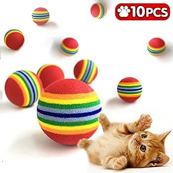 Runfon Jouet Balle Chat en Mousse Boules de Jouet d'animal d'arc-en-Ciel balles colorées de Tennis d'animal de Compagnie de Mousse Molle