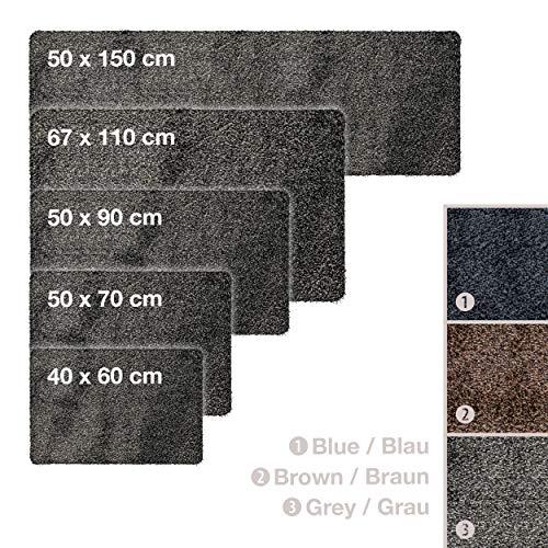 WohnDirect Magic Mat 50x90cm, Grau-Schwarz • Ultra Saugstarke, Waschbare und rutschfeste Fußmatte aus Mikrofaser • Sehr dünn, passt unter Fast Jede Türe