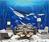 papel pintado pared 3d Tipo Fleece no-trenzado papel de pared moderno fotomurales de runa decorativos murales pared 400x280cm mundo submarino narval medusas algas