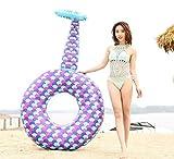 Dameng Piscina Galleggiante Row - Gonfiabile Mermaid Anello di Nuoto con ispessite Coda Anello di Nuoto