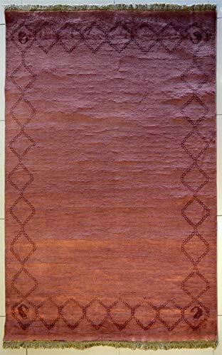 etnico Alfombra Gabbeh de doble nudo hecha a mano con tintes vegetales, 134 cm x 200 cm, diseño simétrico