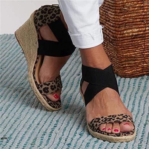 Sandálias femininas verão sapatos de praia retrô salto alto cunhas sandália estampa leopardo trama grossa parte inferior aberta ponta cruzada moda casual confortável para senhora senhora, pa