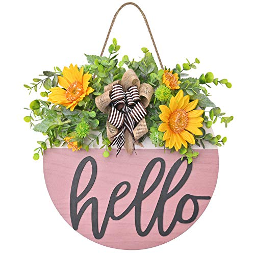 Welcome Sign Wooden Hanging Sign for Front Porch Wreaths for Front Door Decorations for ChristmasRestaurant  Home Outdoor Color Mixing Pink and whitehello sign