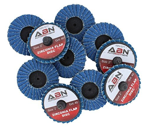 ABN 2in T27 40 Grit High Density Zirconia Alumina Flat Flap Disc Roloc Roll Lock Grinding Sanding Sandpaper Wheels 10 PK
