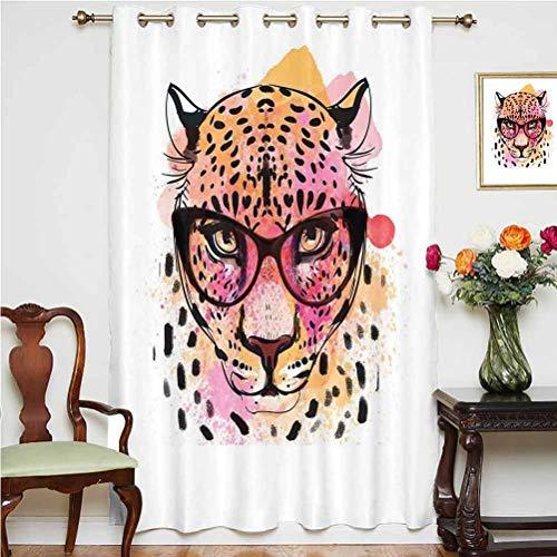 Cortina opaca para decoración de la casa, con diseño de leopardo, acuarela con gafas, con ojales de pintura, panel individual, 160 x 183 cm, para puerta corredera, color naranja y rosa