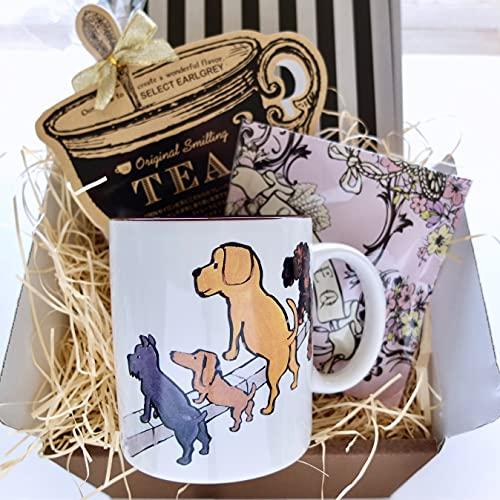 cafe,q カフェック、マカダミア チョコレート & フレーバーティー & サヴィニャック マグカップ(犬)セットギフト