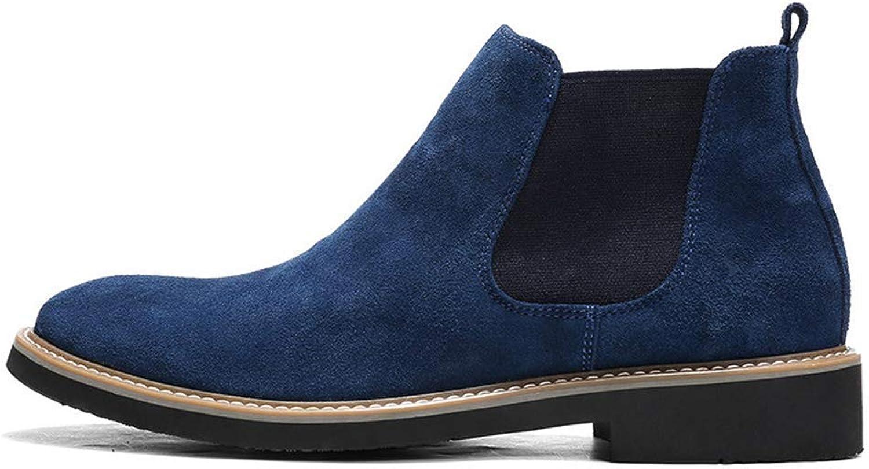 ZHRUI Mnner Schuhe Chelsea Kuh Wildleder Stiefel Formale High Top Ankle Work Kleid Niedriger Absatz Oxfords Stiefel (Farbe   Blau, Gre   9=43 EU)