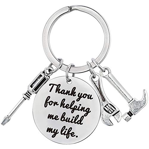 XGAKWD Fathers Day Gifts from Daughter Son, Wedding Birthday Keychain Gift for Step Dad Papa, Thank You for Helping Me Build My Life