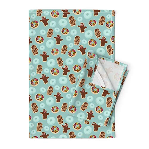 Roostery Portland Tea Towels Oregon Doughnut Bacon Maple Chocolate by Thecalvarium Set of 2 Linen Cotton Tea Towels