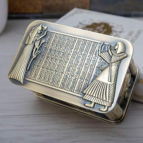 MUY Vintage Egipto Faraón Caja de joyería con Relieve de Metal Caja de Almacenamiento de Regalo Egipcio Arte del hogar Decoración Organizador Cofre Caja de Recuerdos de Pascua para Mujeres