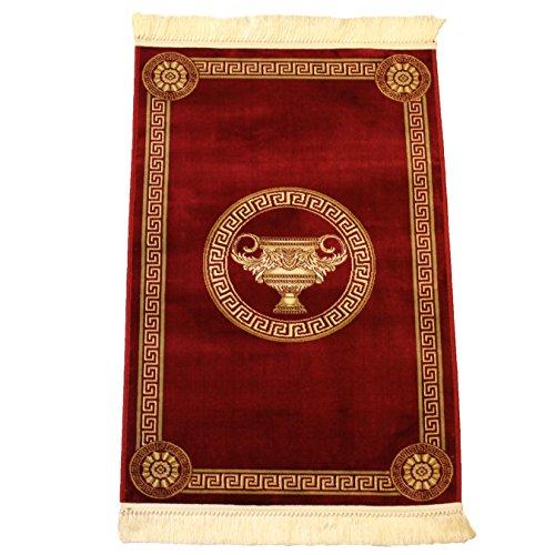 Belle Arti Carpets Mäander Teppich Rot K-Seide Meander Amphore Medusa Carpet versac (200 x 280 cm, Rot)