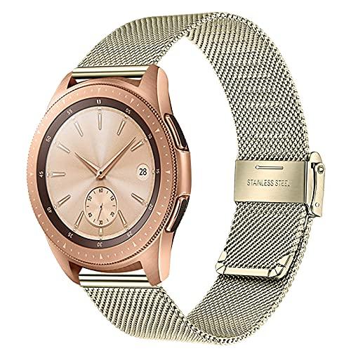 TRUMiRR Reemplazo para Samsung Galaxy Watch 42mm/Galaxy Watch Active/Gear Sport Correa de Reloj, 20mm Correa de Reloj de Malla de Acero Inoxidable Tejida Pulsera para Garmin Vivoactive 3/3 Music