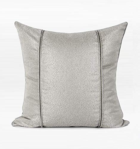 Cushion Covers Throw Pillow Cover Simple And Modern Jacquard Fold Sofa Bedroom Living Room Decoration Pillowcase Large Size Square Silver Gray 55cm x 55cm (Without Core)