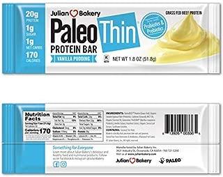 Julian Bakery® Paleo Thin® Protein Bar (Vanilla Pudding) 10 Bars (20g Grass-Fed Beef) (Low Net Carbs) (w/Organic Prebiotics + Probiotics) (Gluten-Free)