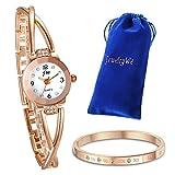 JewelryWe Juego de Pulsera con Reloj Oro Rosa, Moda Reloj de Diamantes Brillantes con Pulsera
