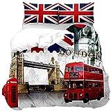 zzkds Bettwäscheset London Cityscape Bettbezug Decoraive London Bridge Red Decker Bus Schmusetuch 3D Modern Berühmte Stadt Tagesdecke Bezug mit 2 Kissenbezügen Reißverschluss Einzelbett