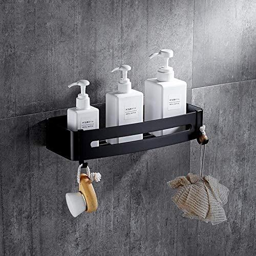 Rek van aluminium, zwart, voor badkamer, 2 dieren, badkamer, wandplank, hoekplank, badkamer, shampoo, opbergen, accessoires met haken Single Layer