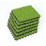 SUMC Rasenfliesen 6 Stück Kunstrasen Bodenfliesen für draußen Innen Gras Klickfliesen mit Kunstrasen Florhöhe von 30 mm, 12×12 Inch (6 Packs)