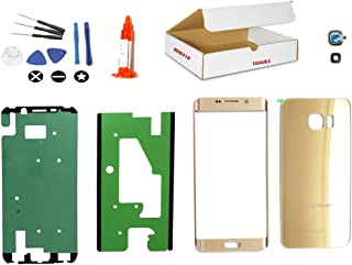 (md0410) Replacement Repair Kit Compatible with Galaxy S6 Edge Plus Model G928 Gold Front Outer Glass Lens, Back Cover, Camera Lens Cover (LCD Screen & Touch digitizer not Included)