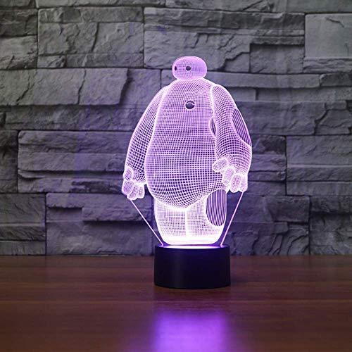 Lámpara Baymax 3D, lámparas de noche LED de 7 colores para niños, lámpara de mesa USB LED táctil, lámpara de luz nocturna para dormir para bebés, Sensor de movimiento