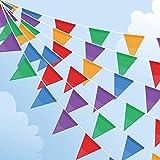 100M Wimpelkette, Mehrfarbig Wimpel mit 200 Stück Dreieck Flaggen, Nylon Stoff Bunting Banner für...