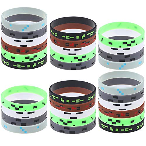 48 Pcs Pixelated Miner Bracelet Crafting Style Wristbandfor Mining Themed Birthday Christmas Party Supplies