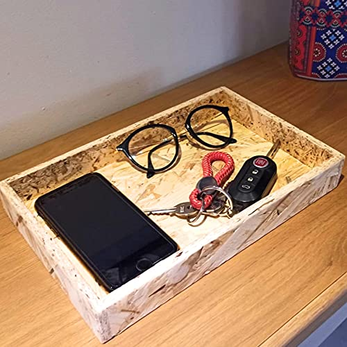 MGKolbe Vaciabolsillos de madera para llaves entrada de casa portaobjetos móvil monedas joyas pendientes caramelos chocolates organizador de escritorio de mesa bandeja portaobjetos llavero para hombre