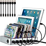 Simicore Charging Station (Original U.S. Design Patent) - Stylish Multiple Device Charger, with 7 Mini Cables for Apple and Android (Silver)