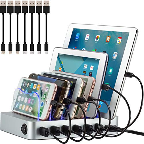 Simicore Charging Station for Multiple Devices, Certified 6 USB 50W 10A Fast Charging Dock, Non-Slip Surface, 7 Short Cables Included, Smart Phones, Tablets, Watch, Other Electronics Organizer, Silver