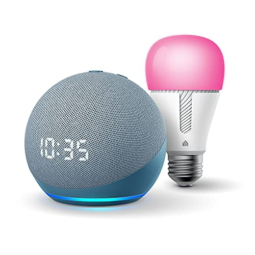 Echo Dot (4th Gen) | Smart speaker with clock and Alexa | Twilight Blue with TP-Link Color Bulb
