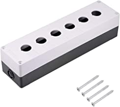 uxcell Push Button Switch Control Station Box 22mm 6 Holes White and Black
