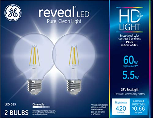 GE Lighting 31858 Reveal HD+ 60W Replacement LED Light Bulbs, 2-Pack, Clear, Decorative, Globe, Dimmable LED Light Bulbs, Medium Base, G25