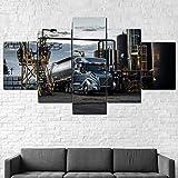 Quadro Multipannello Di 5 Pannelli, Quadro Su Tela 5 Pezzi, Stampa Artistica, Moderno Canvas 125X60Cm,Camion Volvo Vnl 740 Pronto Appendere