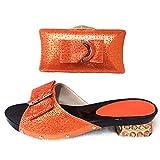 ER-Hoesing Green Shoe italiana damas y empaqueta el sistema adornado con la parte africana boda Rhinestone Zapatos italianos con el bolso a juego Orange 39