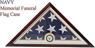 Navy Flag Display Case Box, 5x9 Burial - Funeral - Veteran Flag Elegant Display