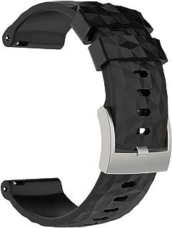 Suunto Spartan Sport Wrist HR Baro Replacement Band, AWADUO Replacement Silicone Wrist Band Strap for Suunto Spartan Sport Wrist HR Baro Watch and Suunto 9 Baro, Soft and Durable (Silicone Black)
