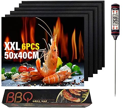 Mgee Grillmatte für Gasgrill 50X40CM, Grillmatten 6er-Set Einschließen 1 Grillthermometer, BBQ Barbecue Grill Matte Backmatte, Wiederverwendbares Grillzubehör, Geschirrspülergeeignet (50 * 40 cm)