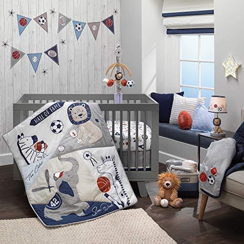 Lambs & Ivy Hall of Fame Sports Animals 5-Piece Crib Bedding Set - Gray/Blue
