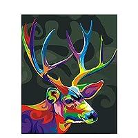 番号によるオイルペイント鹿の着色手描きの動物キットキャンバスに描く写真番号DIYアートペイントフレーム大人の家の装飾