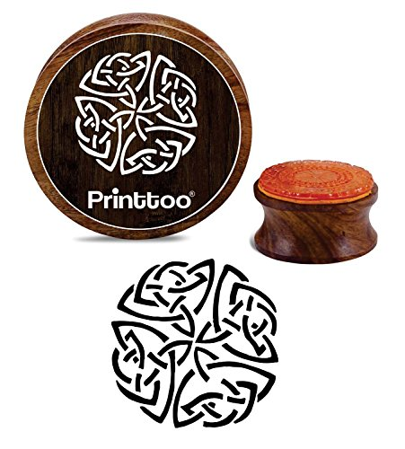 Printtoo Celtic Design Round Wooden Rubber Stamp Diary Card Brown Print Block-2 Inch