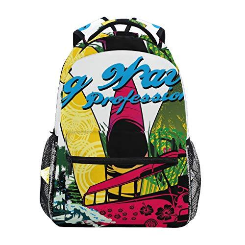 Ahomy Rucksack Palm Beach Surfer Rucksack Schultasche für Mädchen Jungen Frauen Ideal Reisen Tag Rucksack