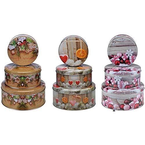 3er Set Keksdosen aus Metall mit Winter-, Weihnachtsmotiven - Weihnachten Keksdose Blechdose Gebäckdose Vorratsdose Plätzchendose Deko Dose