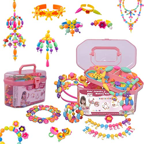 QIAOKUAN Snap Pop Beads for Girl - 650PCS Kids Jewelry Making Kit Toys - Pop Bead Art and Craft Kits DIY - Bracelets Hairband Necklaces Rings Toys Age for 3 4 5 6 7 8 Year Old Girl Gift