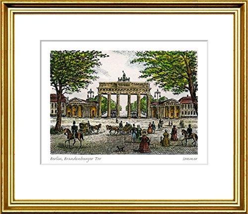 Kunstverlag Christoph Falk Handkolorierte Radierung Berlin, Brandenburger Tor im Rahmen Goldkehle hinter Passepartout