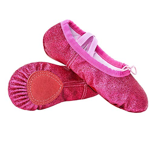 Hawiton clásico Zapatillas de Ballet niña, Elástico Medias Puntas de Ballet Danza Zapatos,Profesionale Zapatos Baile y Gimnasia,Suela Plana,Azul