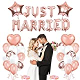 Just Married Decoracion,Guirnalda Boda Just Married,Just Married Banner,Globos de Oro Rosa para Bodas,para Decoracion de Matrimonio y Accessorios