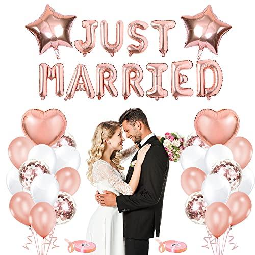 Just Married Decoracion,Guirnalda Boda Just Married,Just Married Banner,Globos de Oro Rosa para...